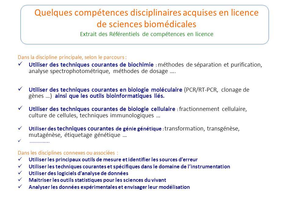 Quelques compétences disciplinaires acquises en licence de sciences biomédicales Extrait des Référentiels de compétences en licence