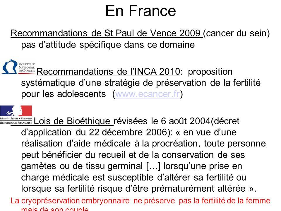 En France Recommandations de St Paul de Vence 2009 (cancer du sein) pas d'attitude spécifique dans ce domaine.