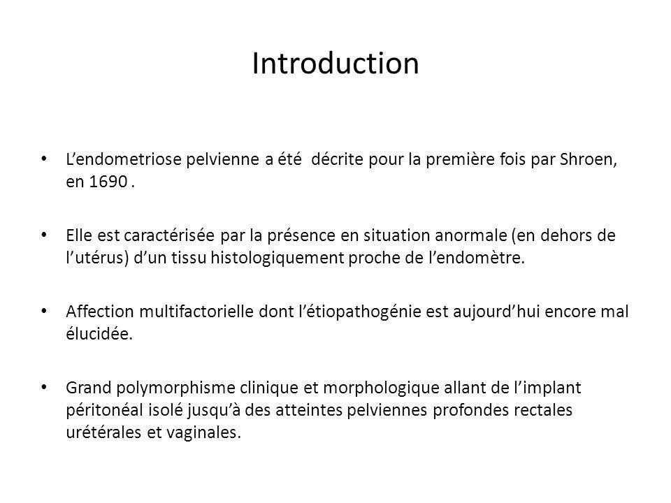Introduction L'endometriose pelvienne a été décrite pour la première fois par Shroen, en 1690 .