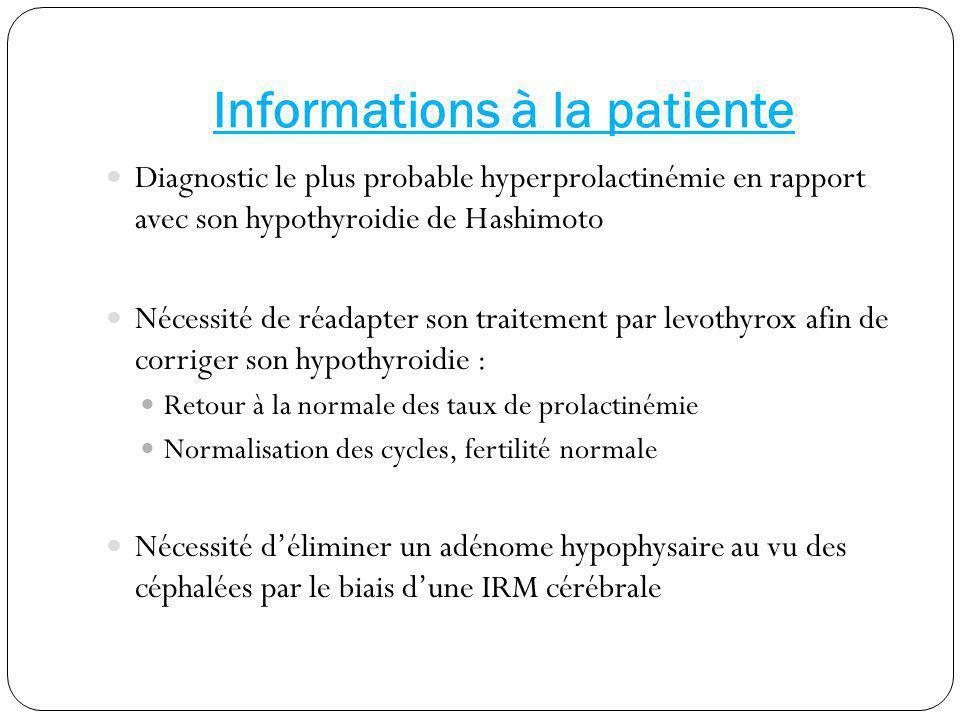 Informations à la patiente