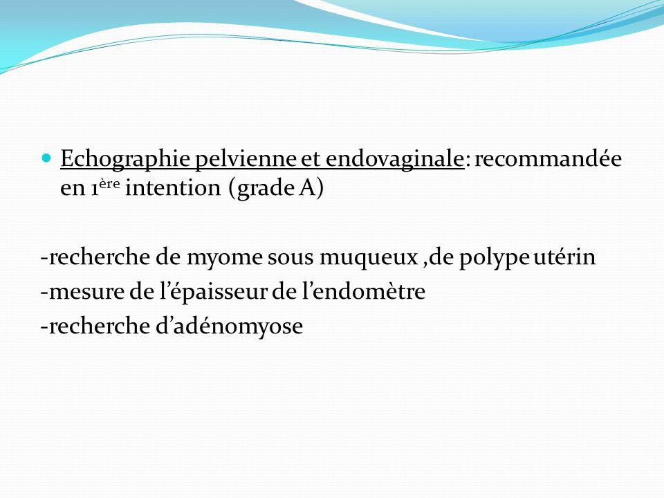 Echographie pelvienne et endovaginale: recommandée en 1ère intention (grade A)