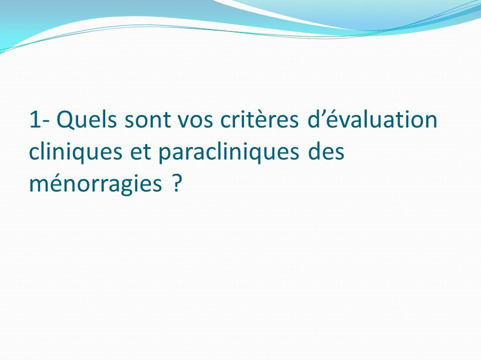1- Quels sont vos critères d'évaluation cliniques et paracliniques des ménorragies