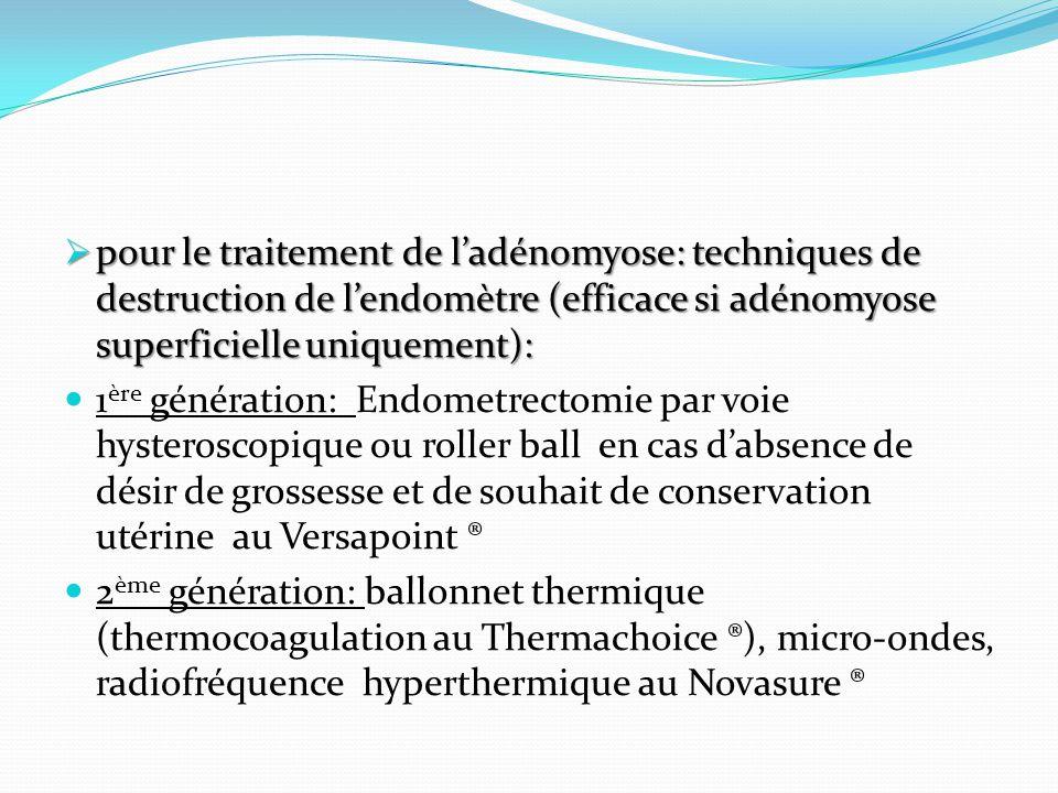 pour le traitement de l'adénomyose: techniques de destruction de l'endomètre (efficace si adénomyose superficielle uniquement):