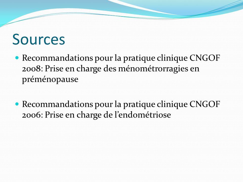 Sources Recommandations pour la pratique clinique CNGOF 2008: Prise en charge des ménométrorragies en préménopause.