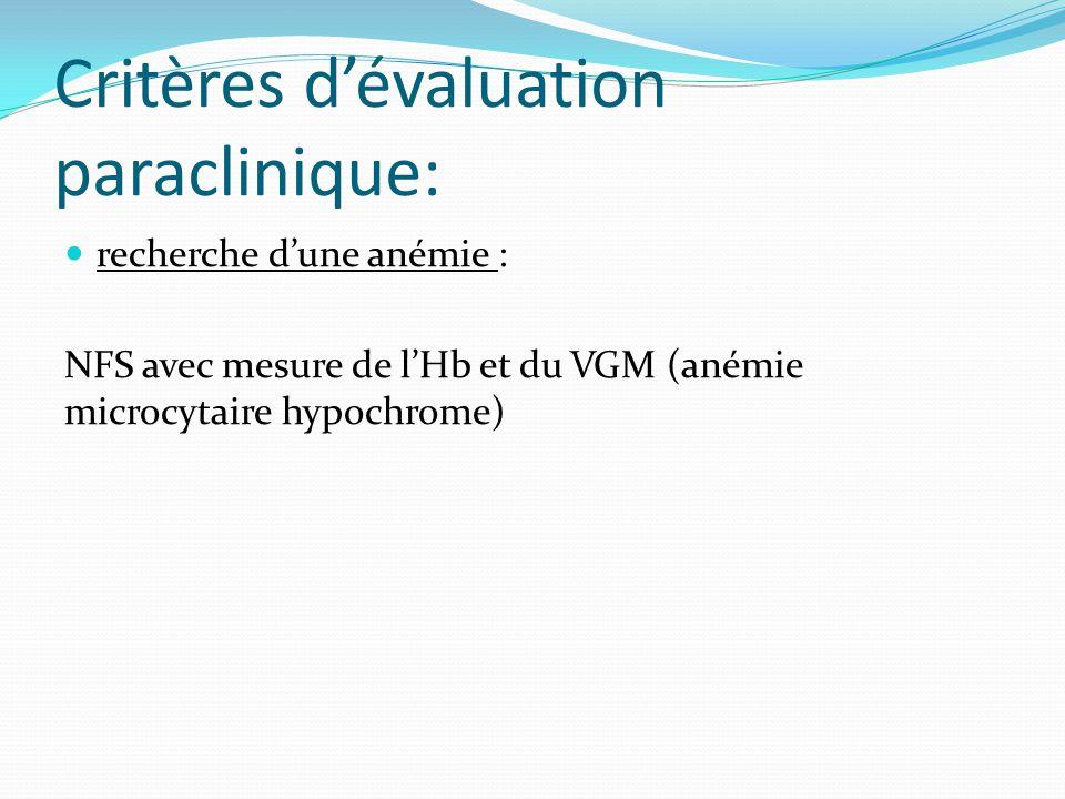 Critères d'évaluation paraclinique: