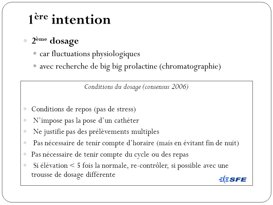 Conditions du dosage (consensus 2006)