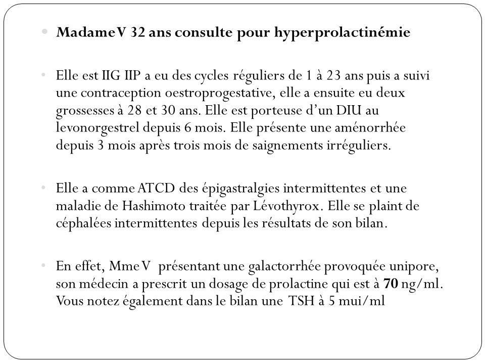 Madame V 32 ans consulte pour hyperprolactinémie