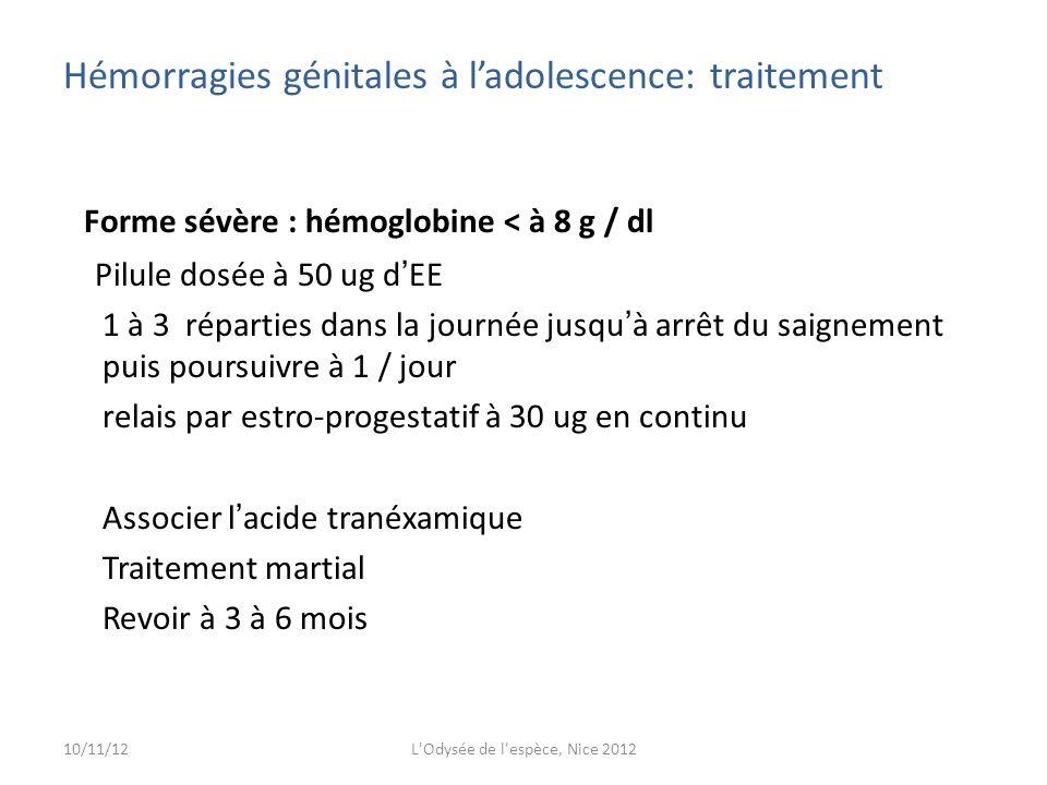 Hémorragies génitales à l'adolescence: traitement