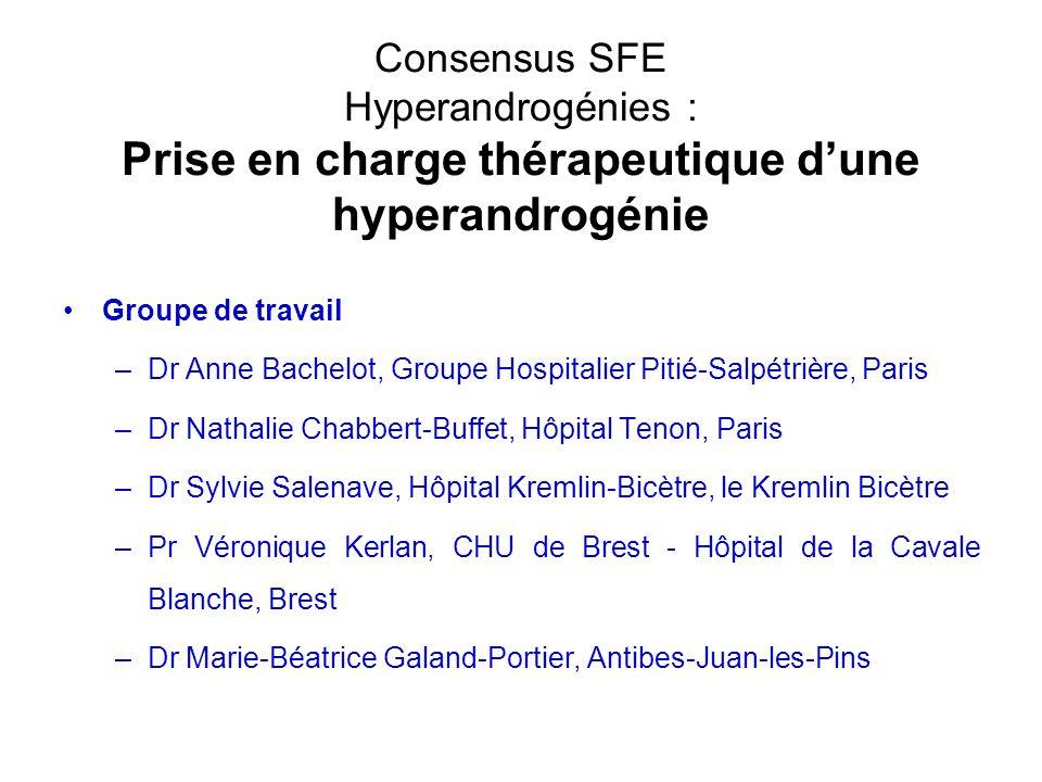 Consensus SFE Hyperandrogénies : Prise en charge thérapeutique d'une hyperandrogénie