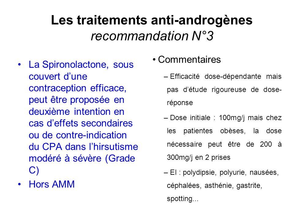 Les traitements anti-androgènes recommandation N°3