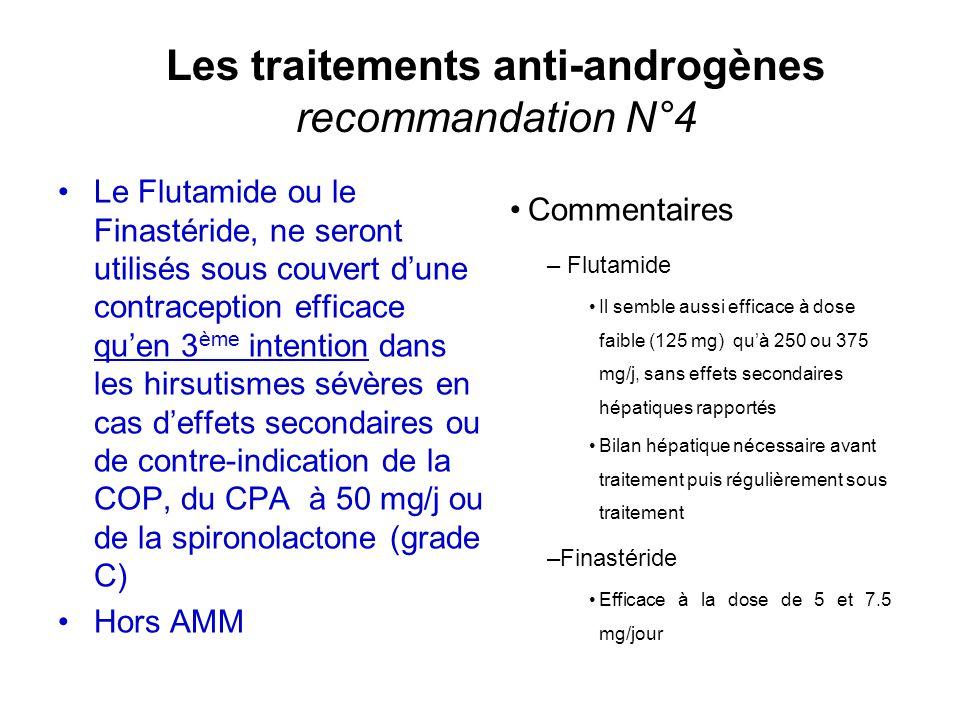 Les traitements anti-androgènes recommandation N°4