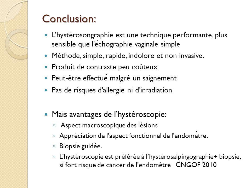 Conclusion: Mais avantages de l'hystéroscopie: