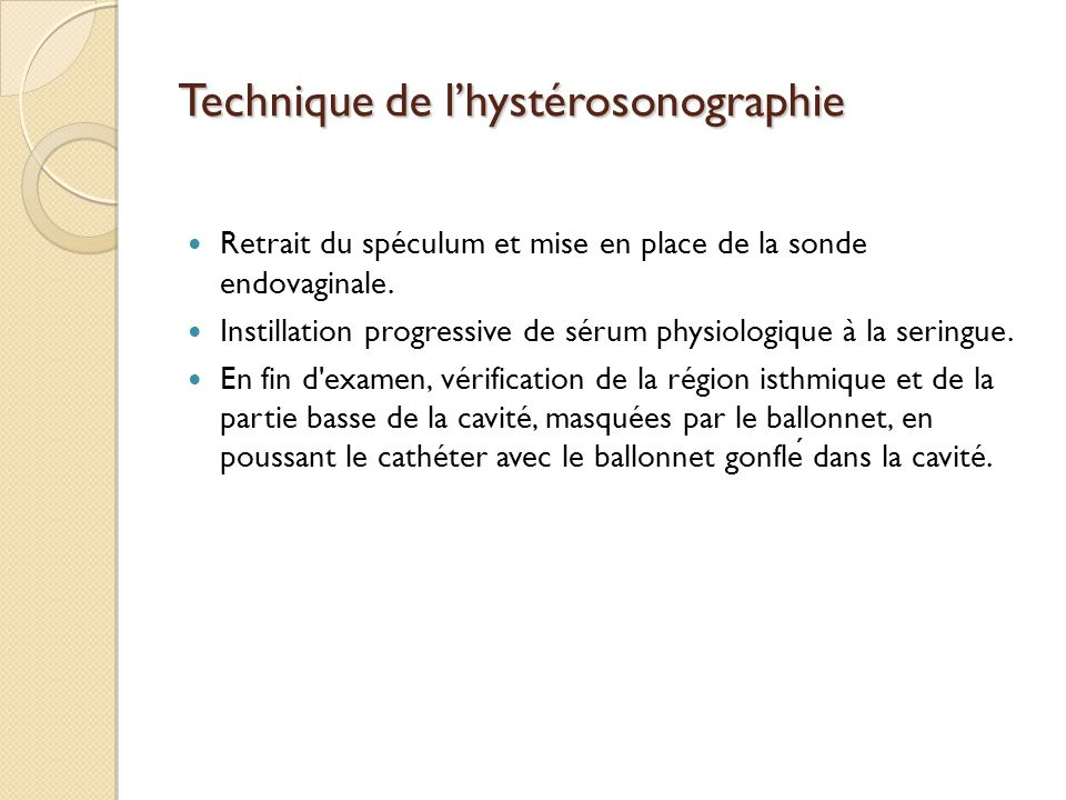 Technique de l'hystérosonographie