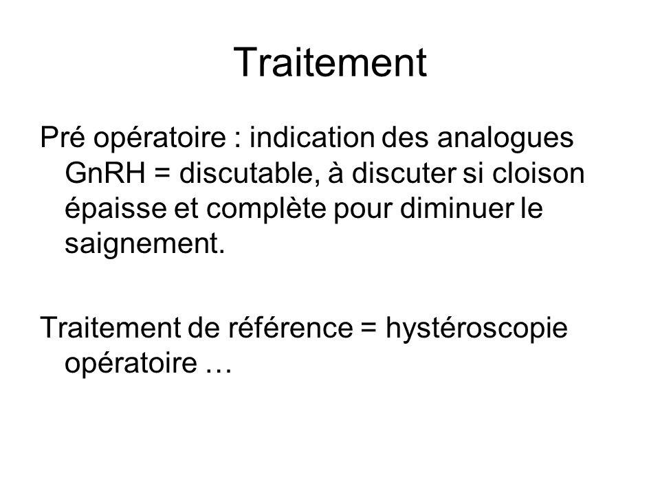 Traitement Pré opératoire : indication des analogues GnRH = discutable, à discuter si cloison épaisse et complète pour diminuer le saignement.