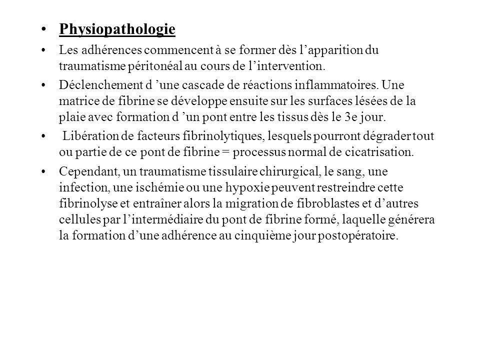 Physiopathologie Les adhérences commencent à se former dès l'apparition du traumatisme péritonéal au cours de l'intervention.