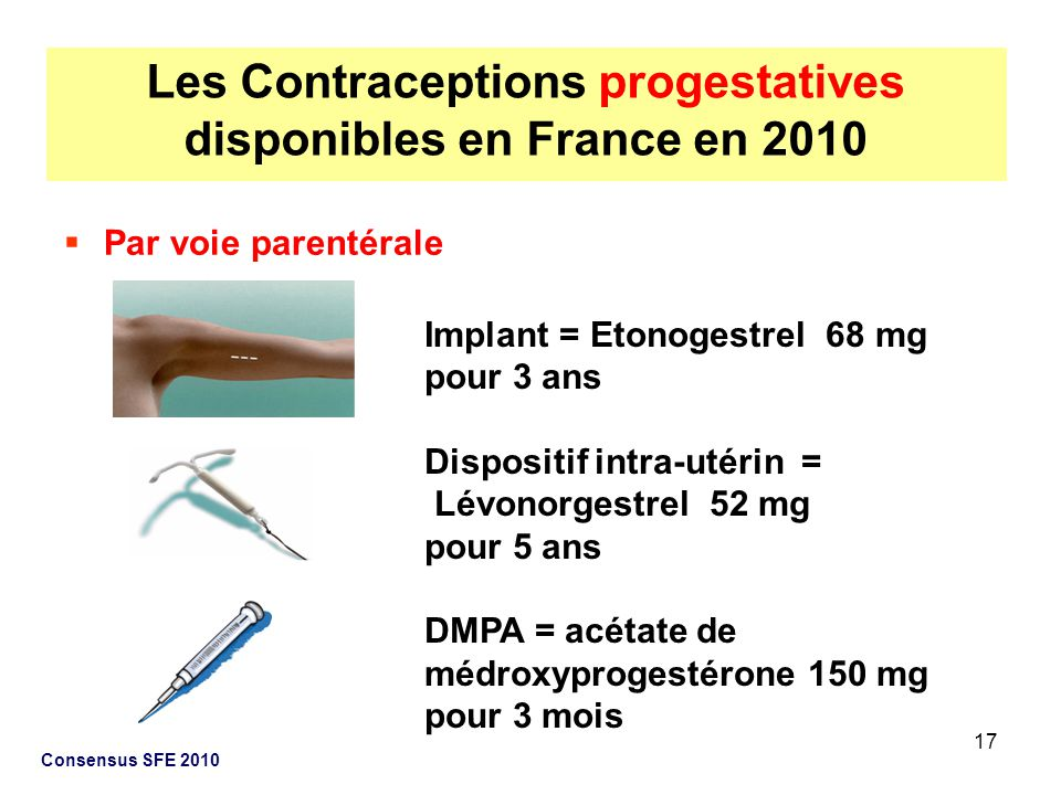 Les Contraceptions progestatives disponibles en France en 2010