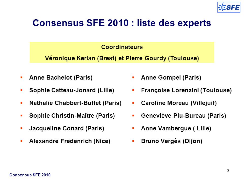 Consensus SFE 2010 : liste des experts