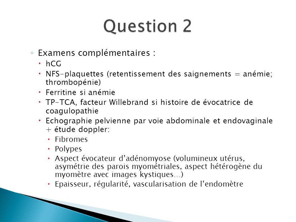 Question 2 Examens complémentaires : hCG