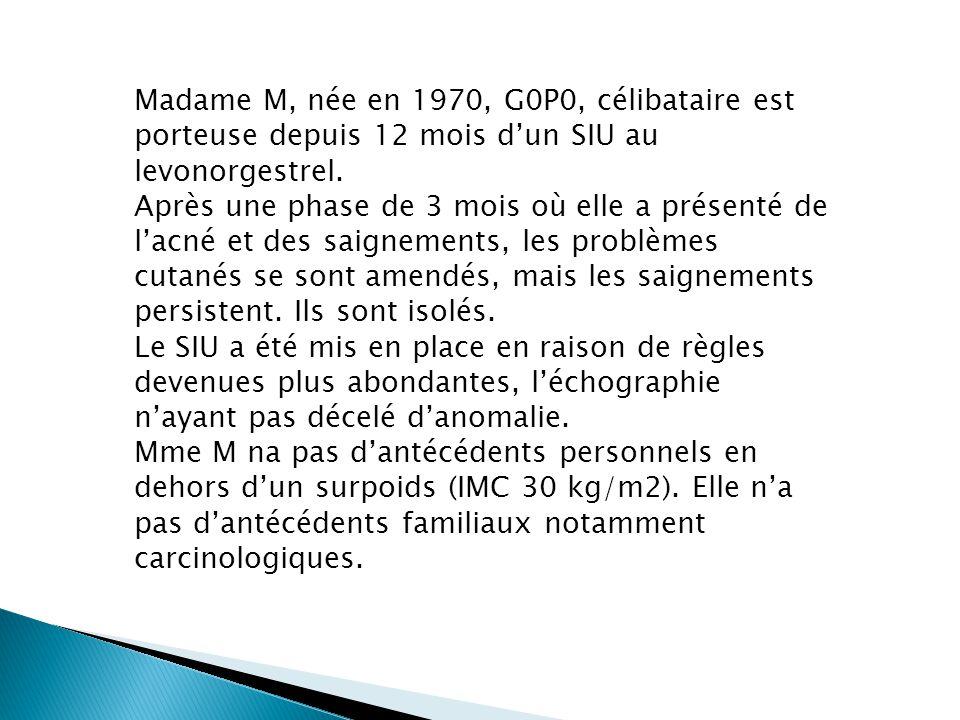 Madame M, née en 1970, G0P0, célibataire est porteuse depuis 12 mois d'un SIU au