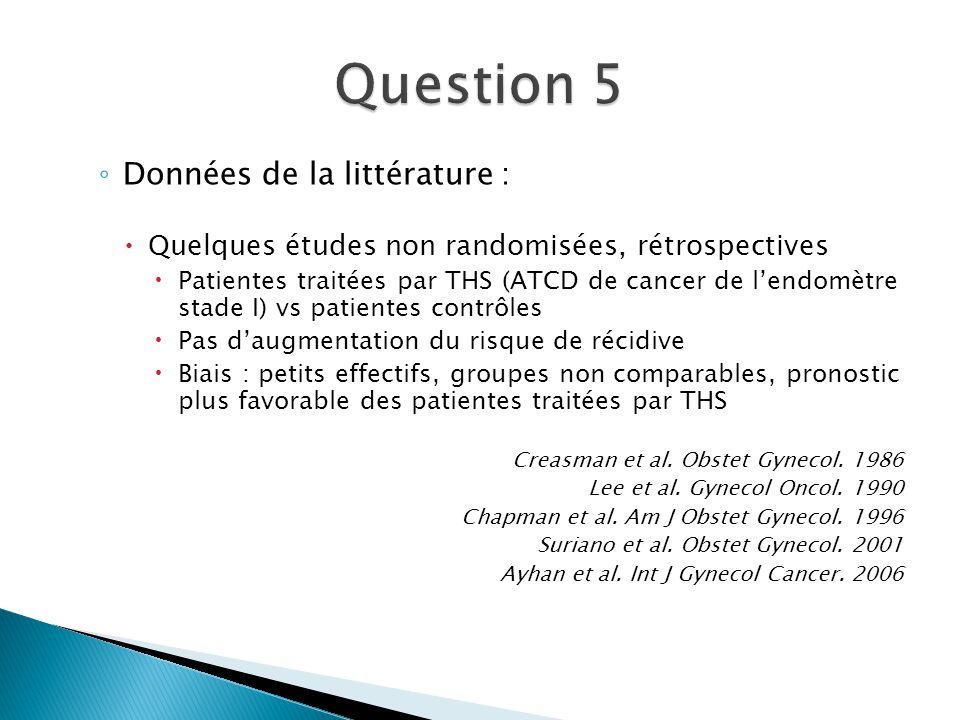 Question 5 Données de la littérature :