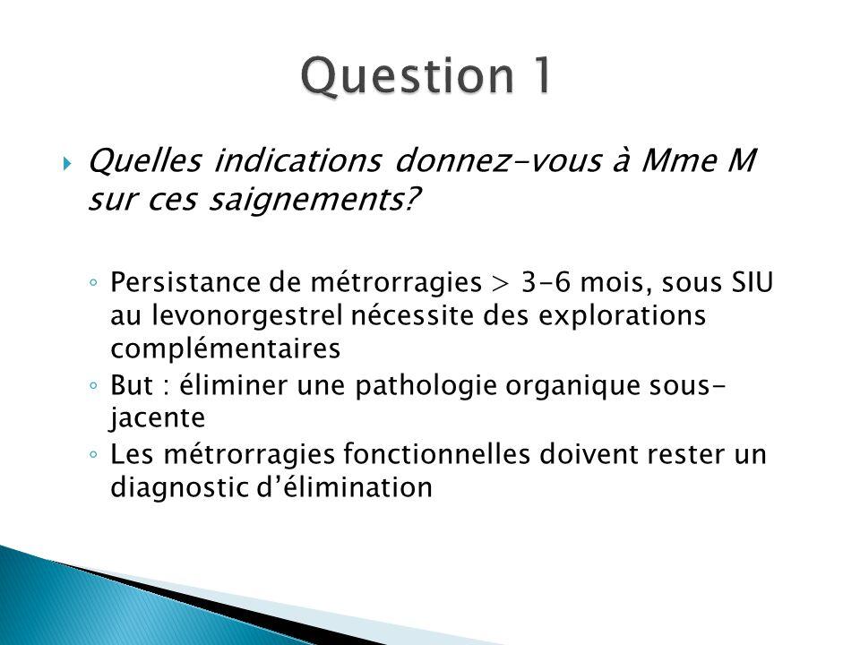 Question 1 Quelles indications donnez-vous à Mme M sur ces saignements