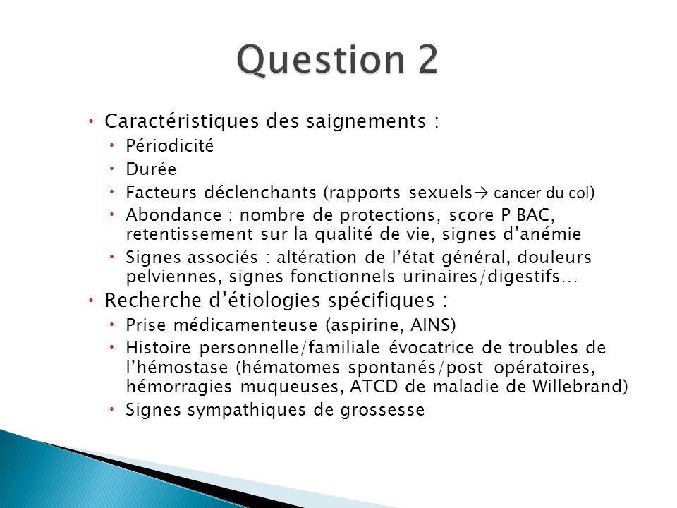 Question 2 Caractéristiques des saignements :