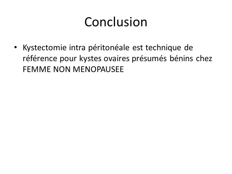 Conclusion Kystectomie intra péritonéale est technique de référence pour kystes ovaires présumés bénins chez FEMME NON MENOPAUSEE.