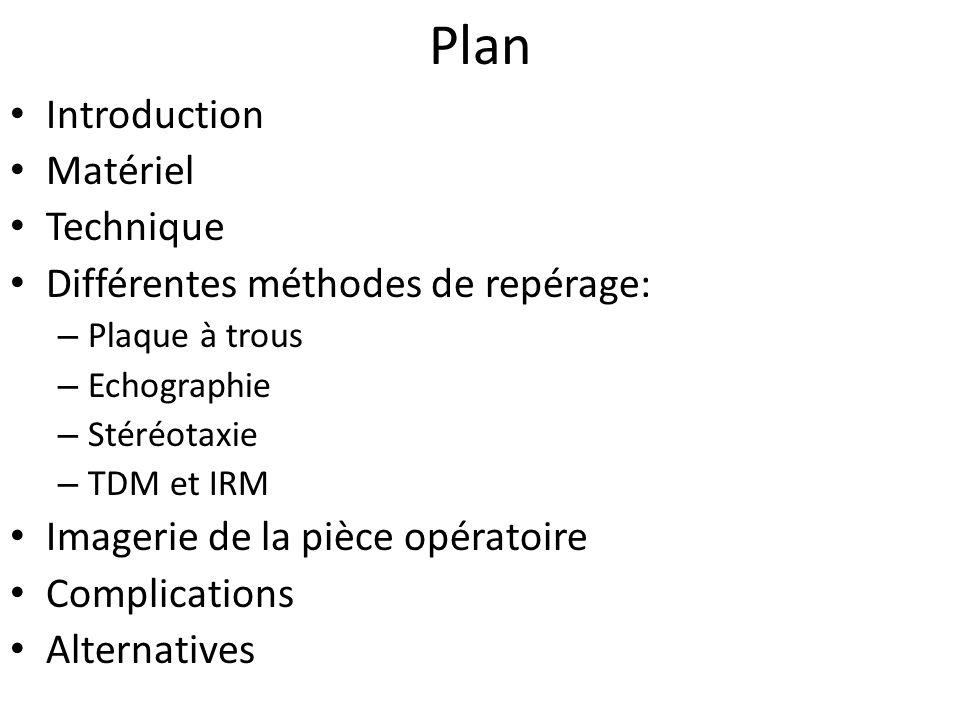 Plan Introduction Matériel Technique Différentes méthodes de repérage:
