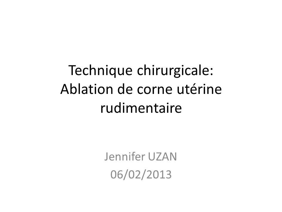 Technique chirurgicale: Ablation de corne utérine rudimentaire