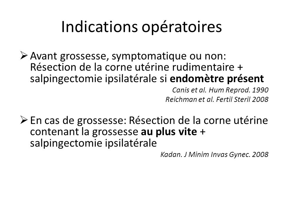 Indications opératoires