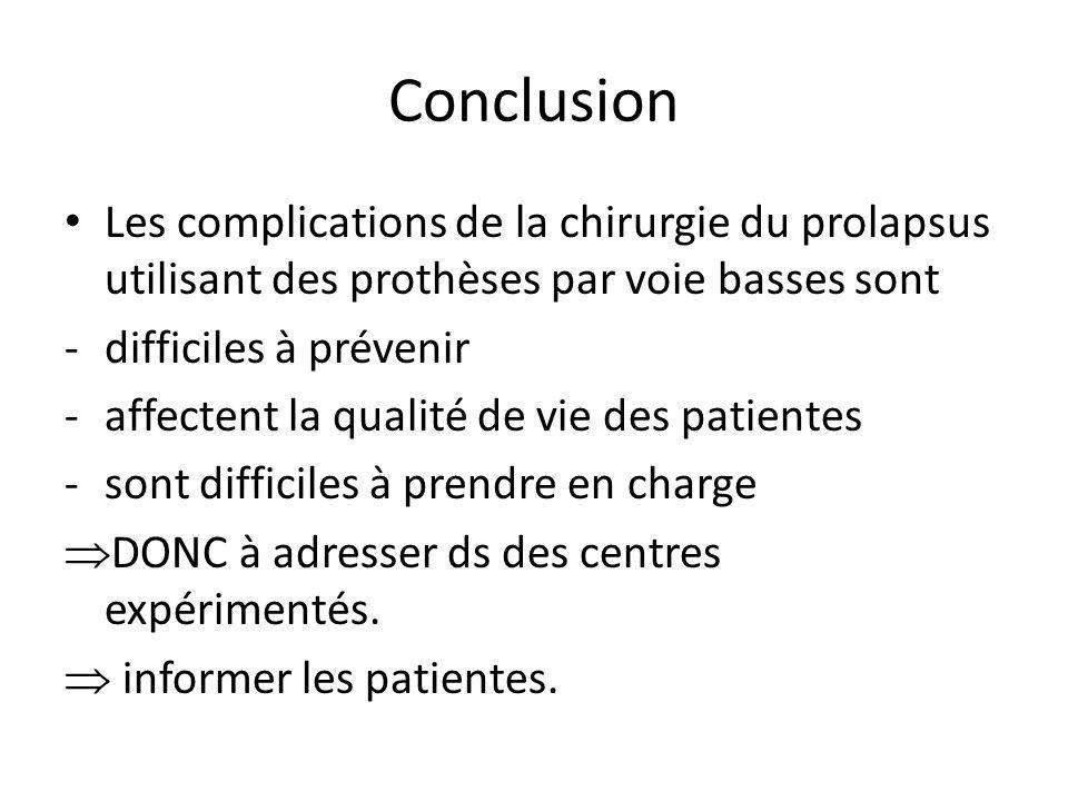 Conclusion Les complications de la chirurgie du prolapsus utilisant des prothèses par voie basses sont.