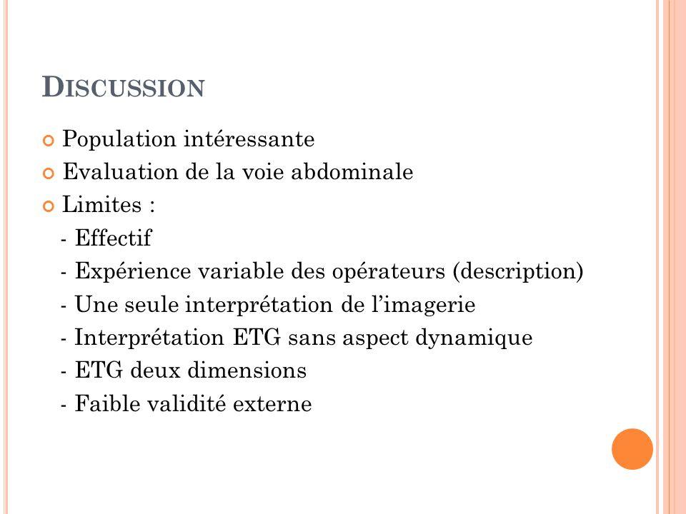 Discussion Population intéressante Evaluation de la voie abdominale