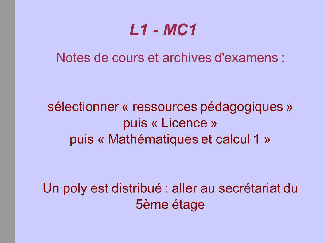 L1 - MC1 Notes de cours et archives d examens :