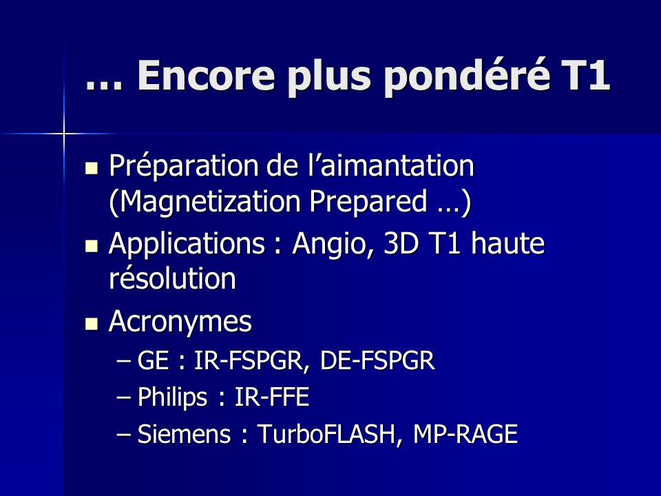 … Encore plus pondéré T1 Préparation de l'aimantation (Magnetization Prepared …) Applications : Angio, 3D T1 haute résolution.
