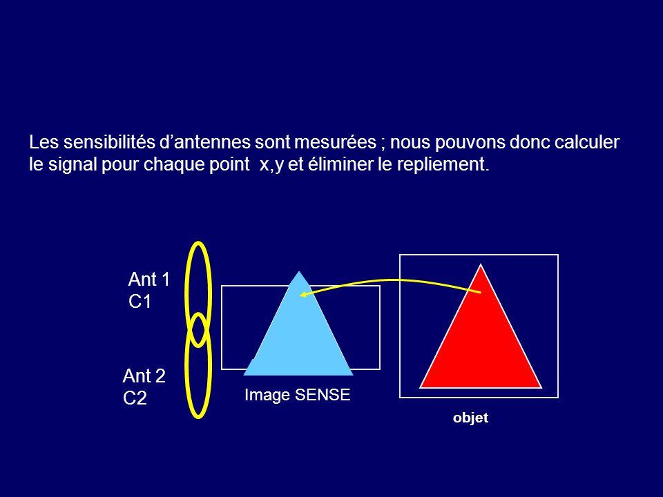 Les sensibilités d'antennes sont mesurées ; nous pouvons donc calculer le signal pour chaque point x,y et éliminer le repliement.