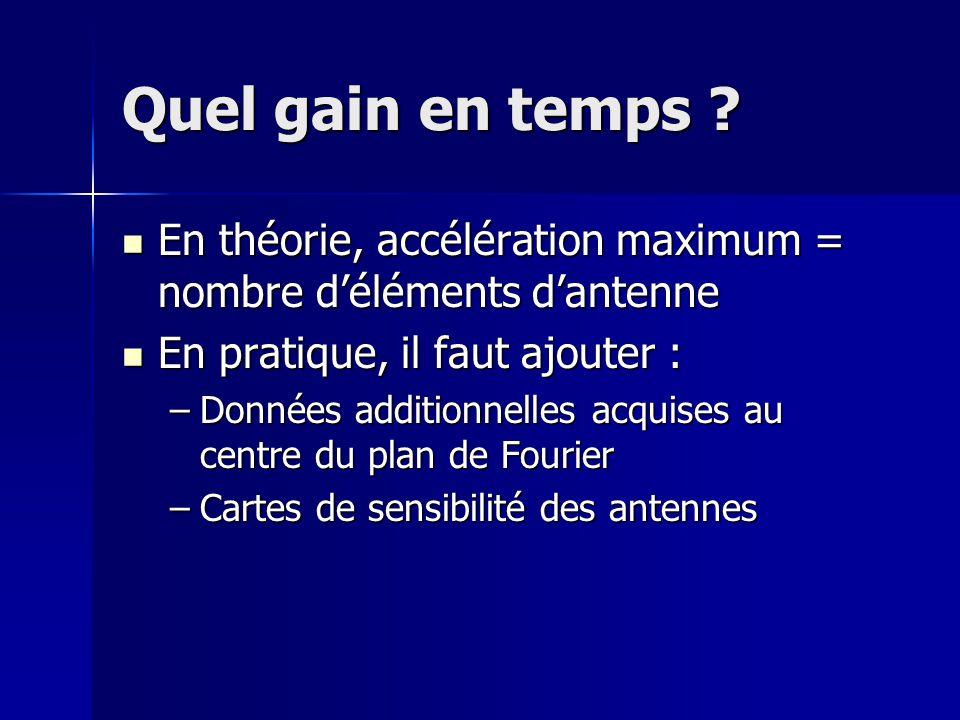 Quel gain en temps En théorie, accélération maximum = nombre d'éléments d'antenne. En pratique, il faut ajouter :