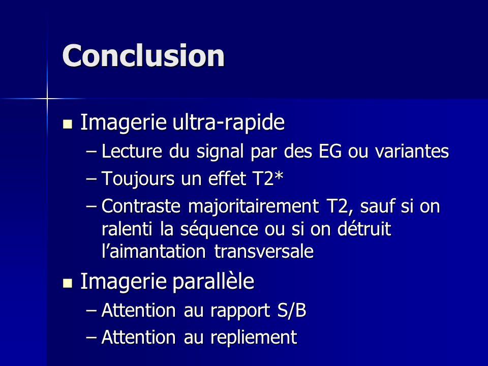 Conclusion Imagerie ultra-rapide Imagerie parallèle