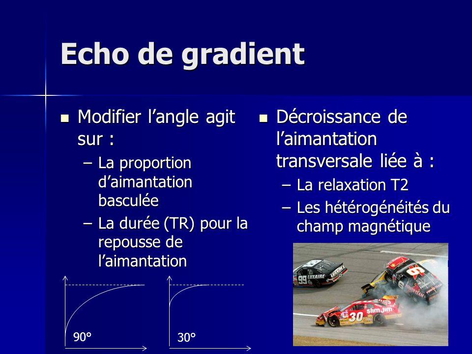 Echo de gradient Modifier l'angle agit sur :