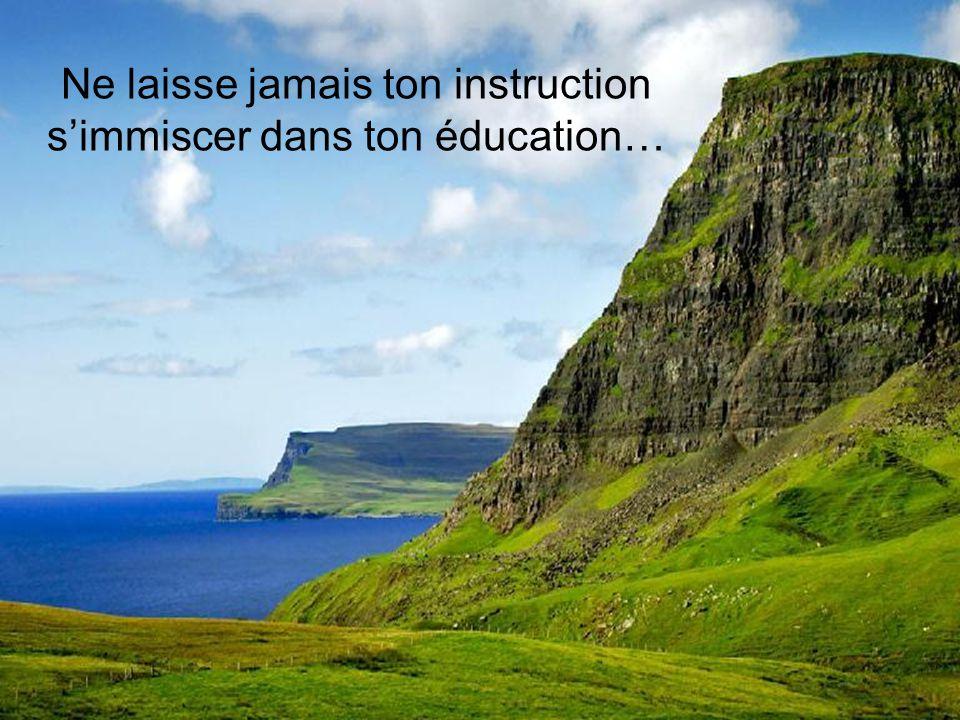 Ne laisse jamais ton instruction s'immiscer dans ton éducation…