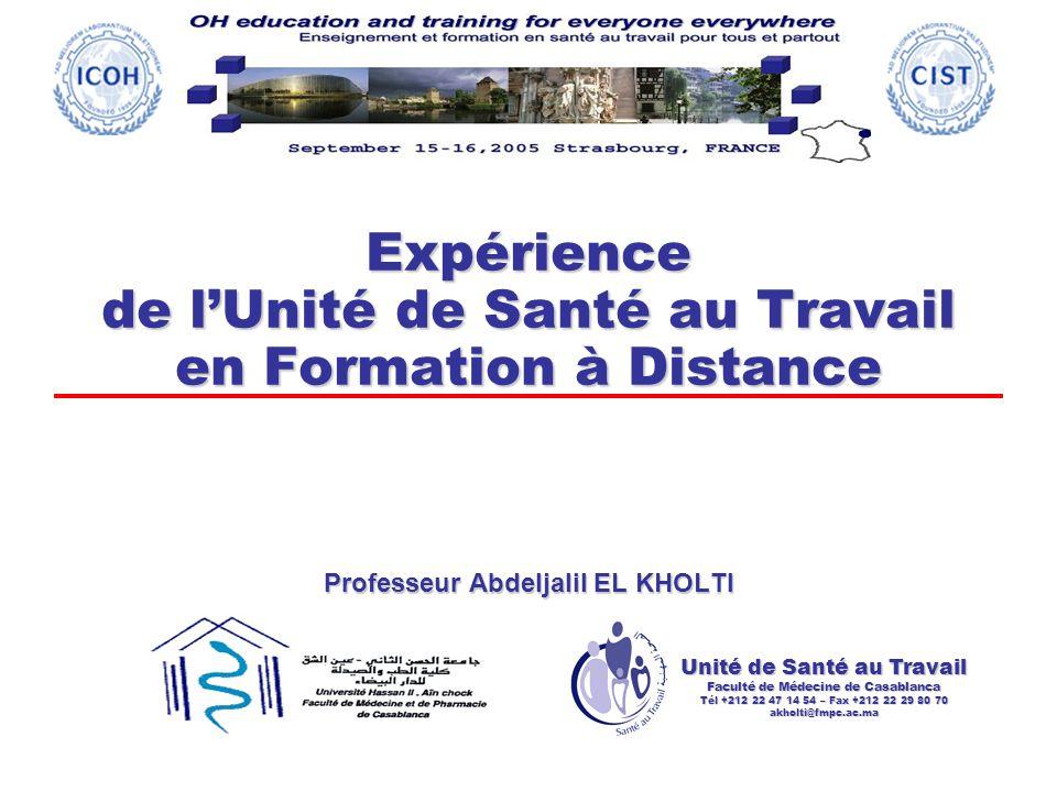 Expérience de l'Unité de Santé au Travail en Formation à Distance