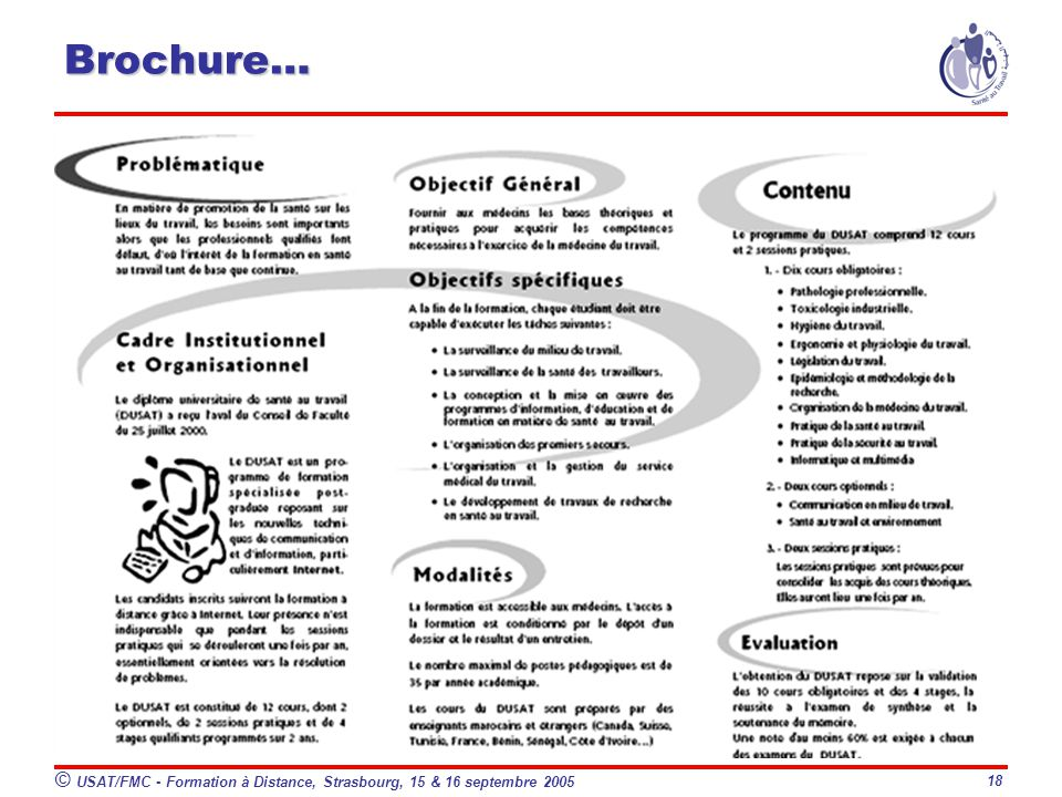 Brochure… © USAT/FMC - Formation à Distance, Strasbourg, 15 & 16 septembre 2005