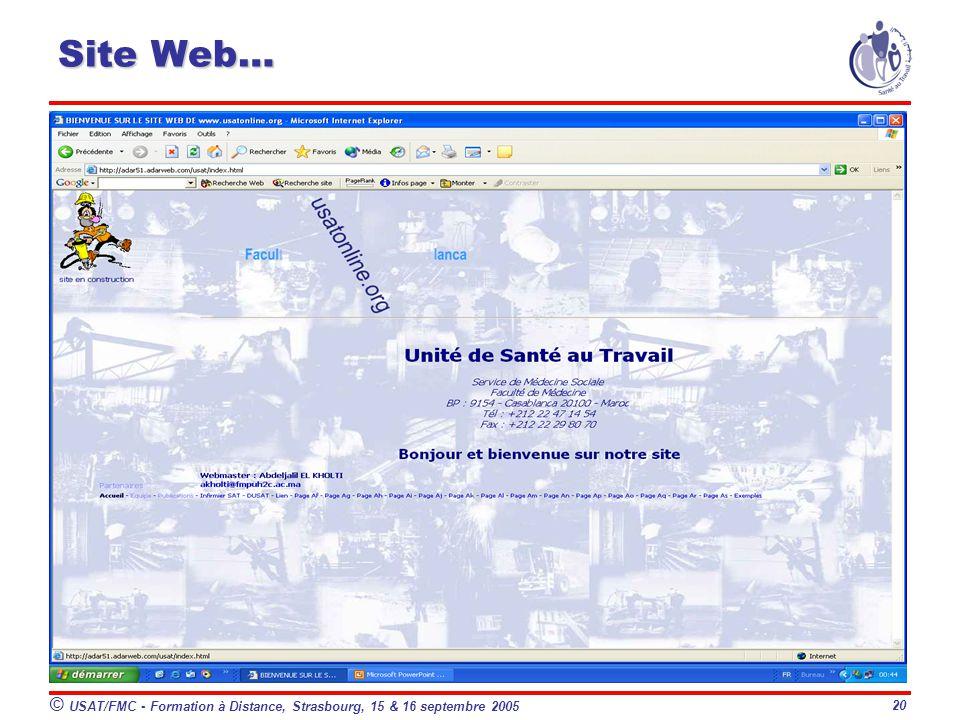 Site Web… © USAT/FMC - Formation à Distance, Strasbourg, 15 & 16 septembre 2005