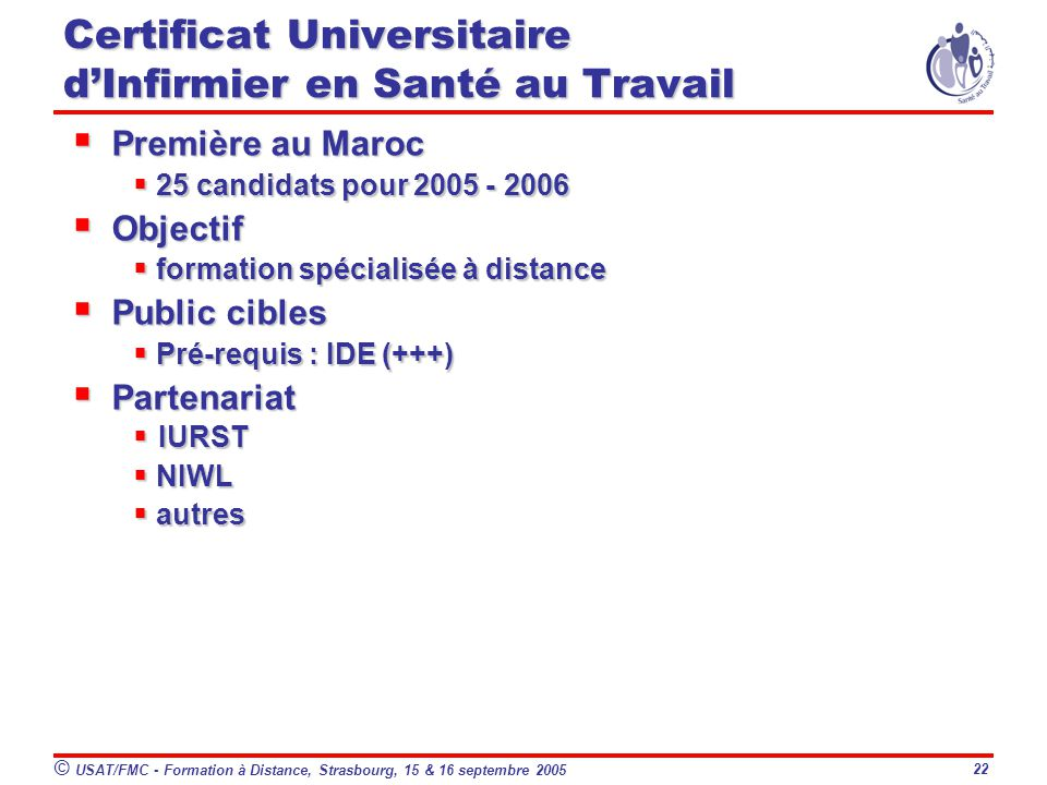 Certificat Universitaire d'Infirmier en Santé au Travail