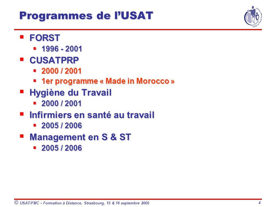 Programmes de l'USAT FORST CUSATPRP Hygiène du Travail