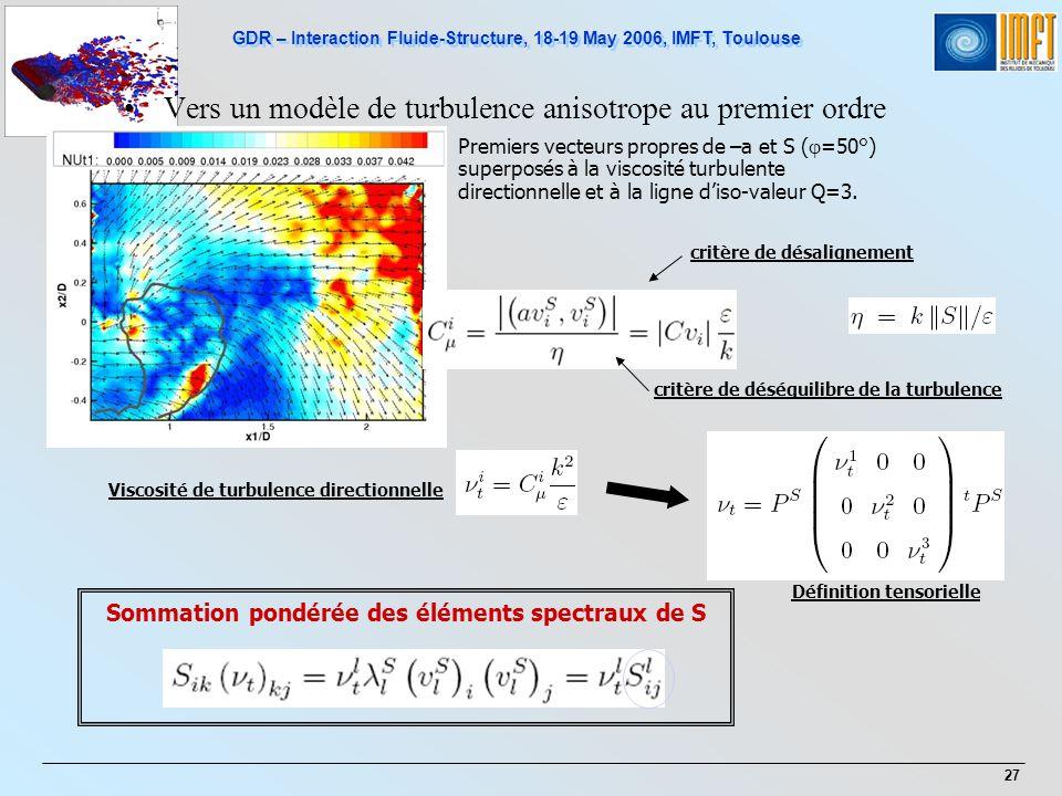 Vers un modèle de turbulence anisotrope au premier ordre