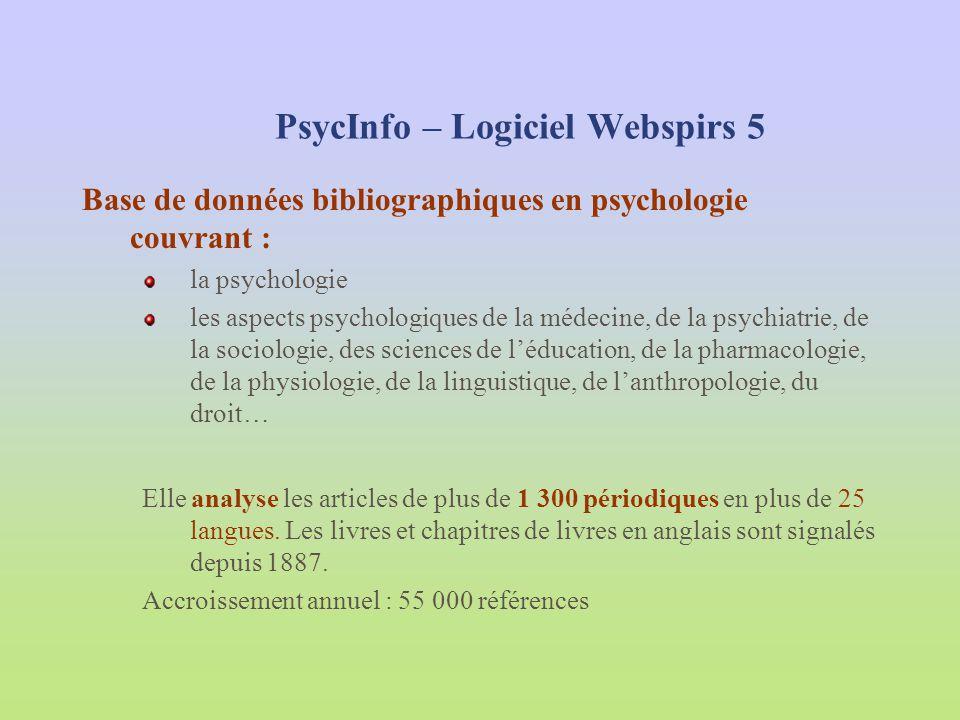 PsycInfo – Logiciel Webspirs 5