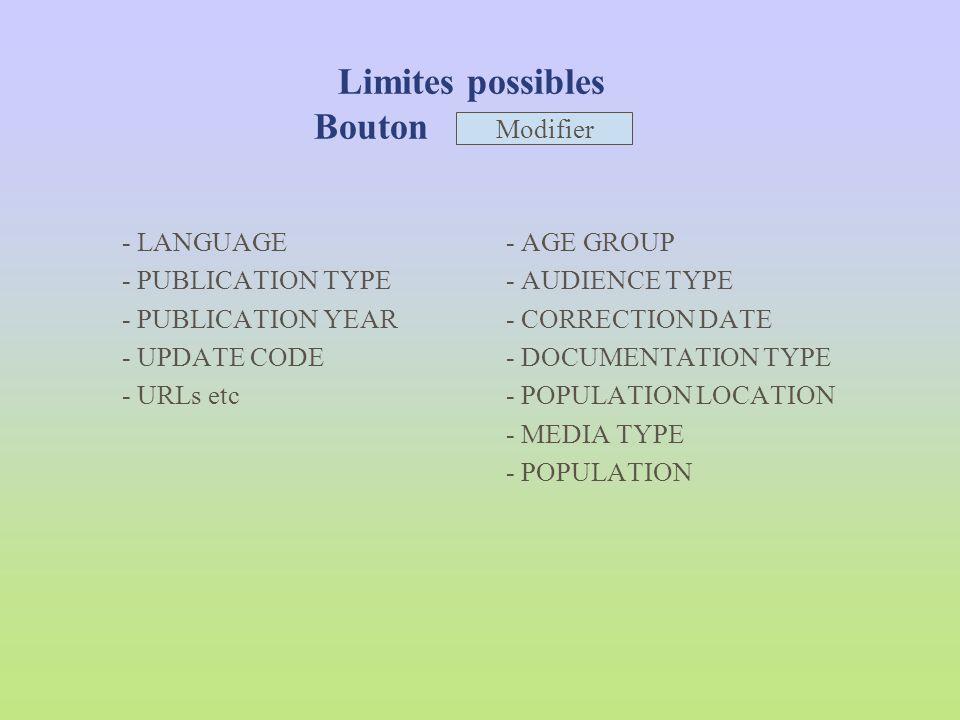 Limites possibles Bouton