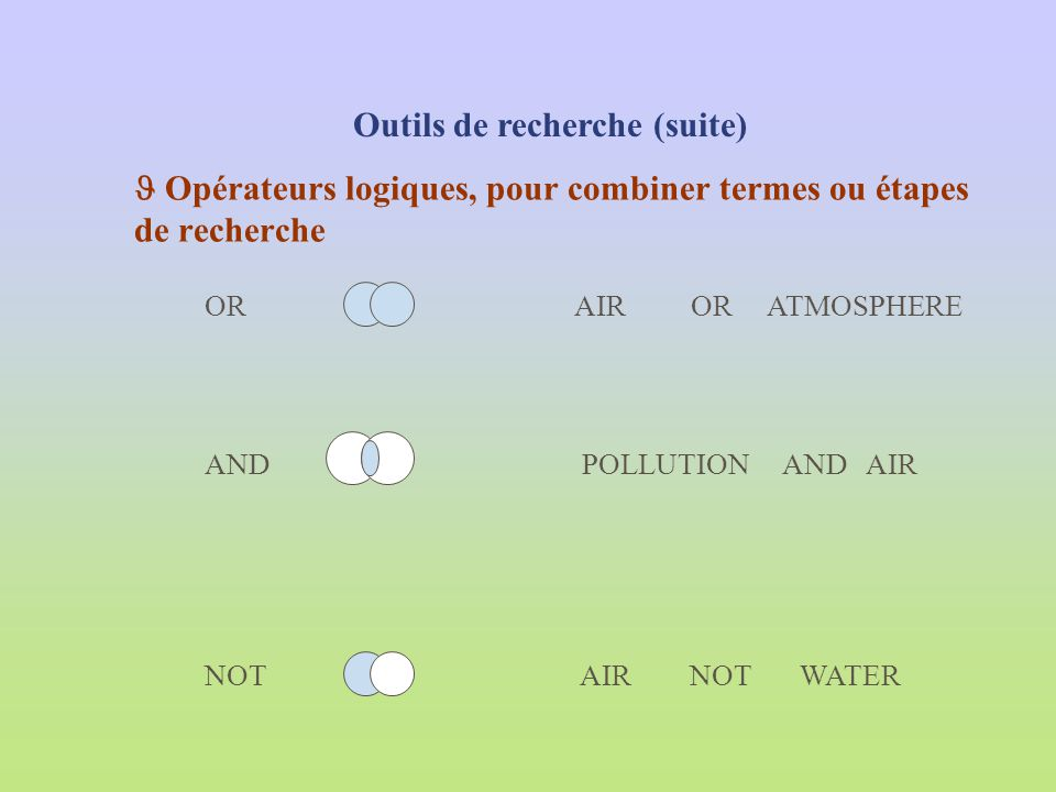  Opérateurs logiques, pour combiner termes ou étapes de recherche