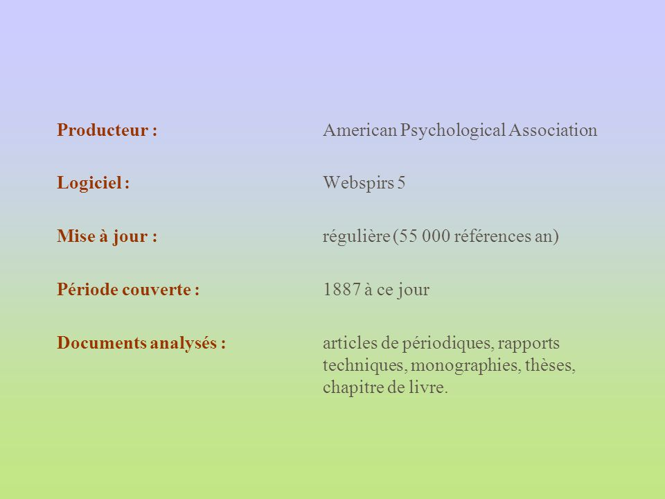 Producteur : American Psychological Association