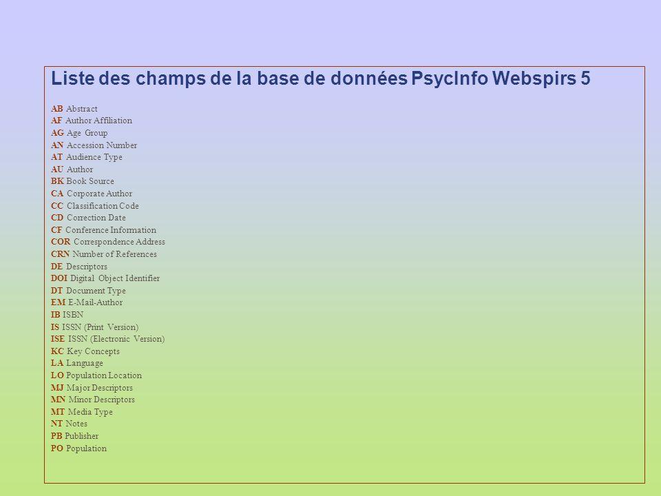Liste des champs de la base de données PsycInfo Webspirs 5